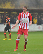 Accrington Stanley Defender, Tom Davies ushers or the ball during the Sky Bet League 2 match between Accrington Stanley and Newport County at the Fraser Eagle Stadium, Accrington, England on 14 November 2015. Photo by Mark Pollitt.
