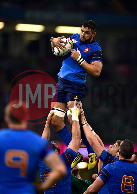 Damien Chouly of France wins the ball at a lineout - Mandatory byline: Patrick Khachfe/JMP - 07966 386802 - 11/10/2015 - RUGBY UNION - Millennium Stadium - Cardiff, Wales - France v Ireland - Rugby World Cup 2015 Pool D.