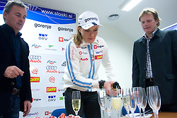 Primoz Ulaga, Petra Majdic and Ales Peljhan  at press conference on the day of her birthday, after she came back from Dusseldorf, where she won the sprint race, on December 22, 2008, Ljubljana, Slovenia. (Photo by Vid Ponikvar / SportIda).