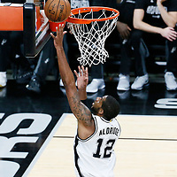 03 May 2017: San Antonio Spurs forward LaMarcus Aldridge (12) goes for the layup during the San Antonio Spurs 121-96 victory over the Houston Rockets, in game 2 of the Western Conference Semi Finals, at the AT&T Center, San Antonio, Texas, USA.