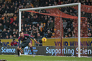 David Marshall (c) (Cardiff City) watches as the ball squirms out of his hands and nearly goes in for Hull's third goal of the game during the Sky Bet Championship match between Hull City and Cardiff City at the KC Stadium, Kingston upon Hull, England on 13 January 2016. Photo by Mark P Doherty.