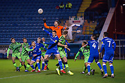 Goalkeeper Adam Collin (#1) of Carlisle United FC clears a cross during the The FA Cup match between Carlisle United and Forest Green Rovers at Brunton Park, Carlisle, England on 10 December 2019.