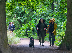© Licensed to London News Pictures. 08/07/2020. Surrey, UK. Walkers brave the midsummer rain on Box Hill in the Surrey Hills as weather forecasters predict a mild but wet couple of days ahead followed by sunnier and warmer weather for the weekend. Photo credit: Alex Lentati/LNP