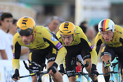 Team Jumbo-Visma in action after crashing during Stage 1 of La Vuelta 2019, a team time trial running 13.4km from Salinas de Torrevieja to Torrevieja, Spain. 24th August 2019.<br /> Picture: Eoin Clarke | Cyclefile<br /> <br /> All photos usage must carry mandatory copyright credit (© Cyclefile | Eoin Clarke)