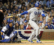 CHICAGO, IL - OCTOBER 16: Adrian Gonzalez #23 of the Los Angeles Dodgers hits what turned out to be a game winning solo home run in the second inning during Game 2 of NLCS against the Chicago Cubs at Wrigley Field on Sunday, October 16, 2016 in Chicago, Illinois. (Photo by Ron Vesely/MLB Photos via Getty Images)  *** Local Caption *** Adrian Gonzalez
