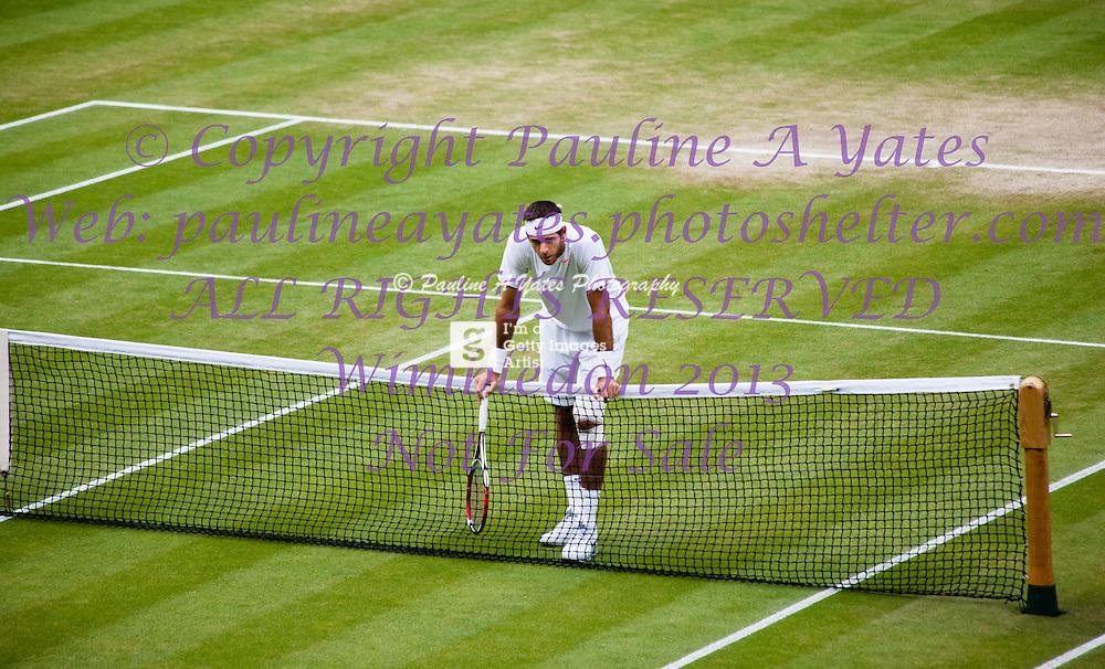 Men's Quarter Final 2013<br /> <br /> Del Potro at the net, exhausted yet still battling Ferrer on his damaged knee.