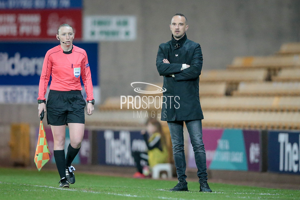 Mark Sampson (Manager) (England) watches an England Ladies attack during the Women's International Friendly match between England Ladies and Italy Women at Vale Park, Burslem, England on 7 April 2017. Photo by Mark P Doherty.