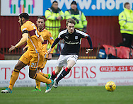 Dundee&rsquo;s Craig Wighton goes past Motherwell&rsquo;s Zak Jules and Scott McDonald - Motherwell v Dundee in the Ladbrokes Scottish Premiership at Fir Park, Motherwell.Photo: David Young<br /> <br />  - &copy; David Young - www.davidyoungphoto.co.uk - email: davidyoungphoto@gmail.com