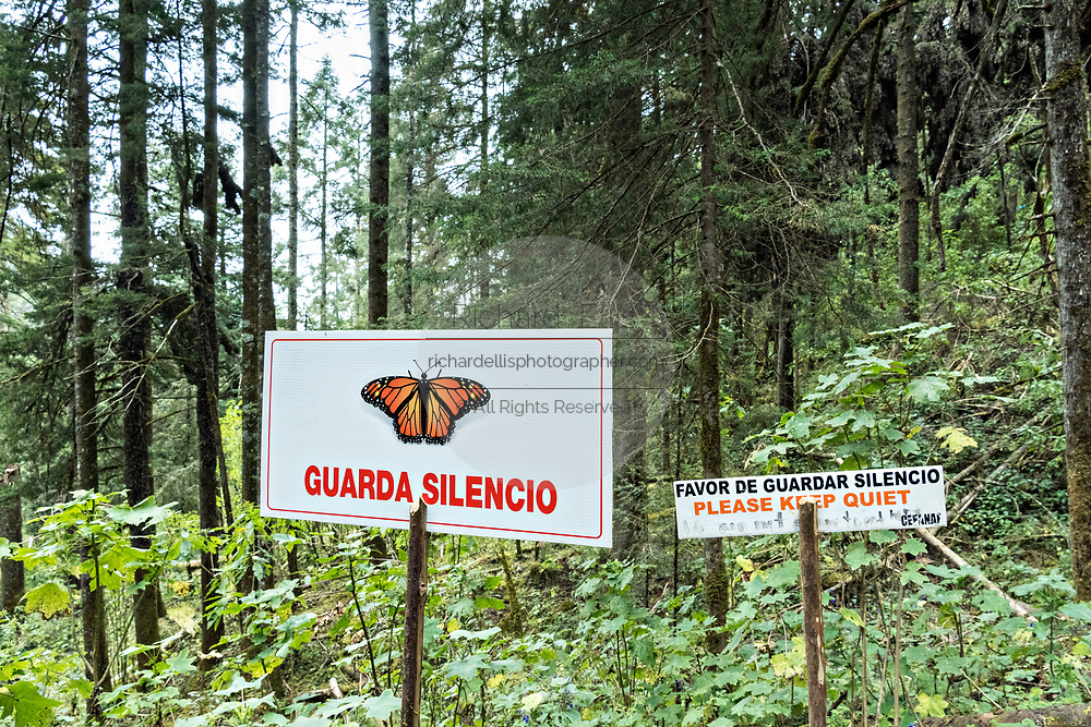 Signs warning visitors to remain quiet in the Cerro Pelon Monarch Butterfly Preserve near Macheros, Michoacan, Mexico. The monarch butterfly migration is a phenomenon across North America, where the butterflies migrates each autumn to overwintering sites in Central Mexico.