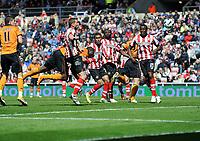 Football - Premier League - Sunderland vs Wolverhampton Wanderers<br /> George Elokobi (Wolves) heads home the game winner at the Stadium of Light.