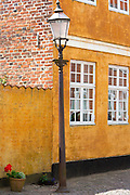 Old-fashioned lamp post light in Gronnegade in medieval Ribe centre, South Jutland, Denmark