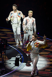 © Licensed to London News Pictures . 18/05/2017 . Manchester , UK . Take That perform live at the Manchester Arena . Photo credit : Joel Goodman/LNP