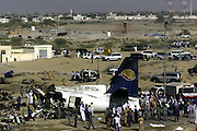 SHARJAH,2004.<br /> All but three of 40 passengers and six crew on board the Fokker 50 belonging to Kish Airlines died when it crashed in Sharjah on 10 February 2004. The turbo-prop aircraft ploughed through a sandy area just before the Sharjah International Airport runway, located between two residential areas.