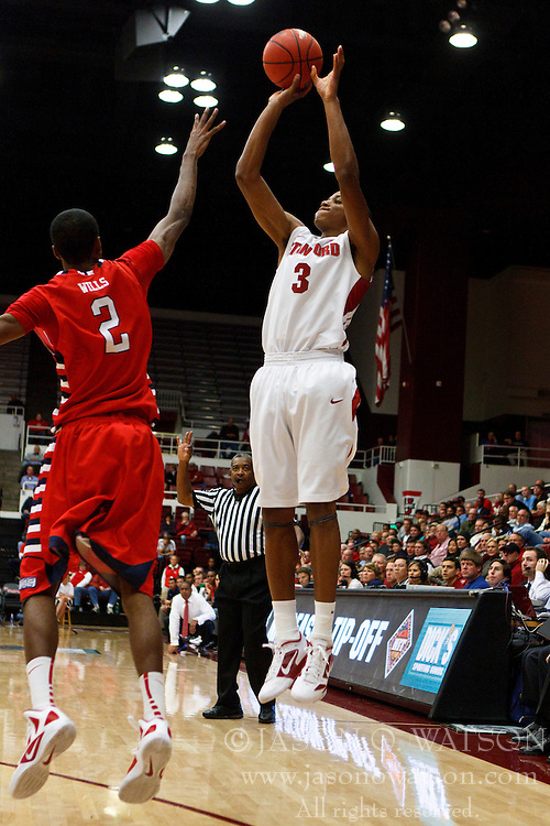 Nov 14, 2011; Stanford CA, USA;  Stanford Cardinal guard/forward Anthony Brown (3) shoots over Fresno State Bulldogs guard Jonathan Wills (2) during the second half of a preseason NIT game at Maples Pavilion. Stanford defeated Fresno State 75-59. Mandatory Credit: Jason O. Watson-US PRESSWIRE