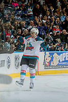 KELOWNA, CANADA - MARCH 11: Reid Gardiner #23 of the Kelowna Rockets celebrates a first period goal against the Victoria Royals on March 11, 2017 at Prospera Place in Kelowna, British Columbia, Canada.  (Photo by Marissa Baecker/Shoot the Breeze)  *** Local Caption ***