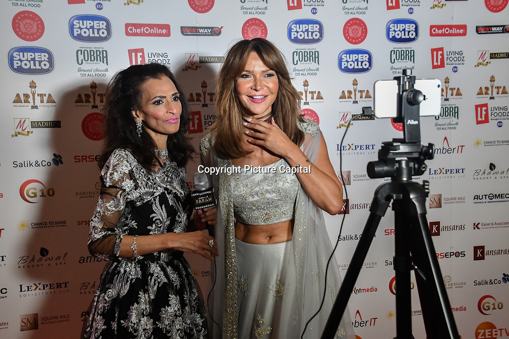 Lizzie Cundy dress in a saree interview by Farah TV attend Asian Restaurant & Takeaway Awards   ARTA 2018 at InterContinental London - The O2, London, UK. 30 September 2018.