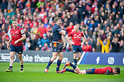Chris Dean (#12) of Edinburgh Rugby celebrates scoring a try during the Heineken Champions Cup quarter-final match between Edinburgh Rugby and Munster Rugby at BT Murrayfield Stadium, Edinburgh, Scotland on 30 March 2019.