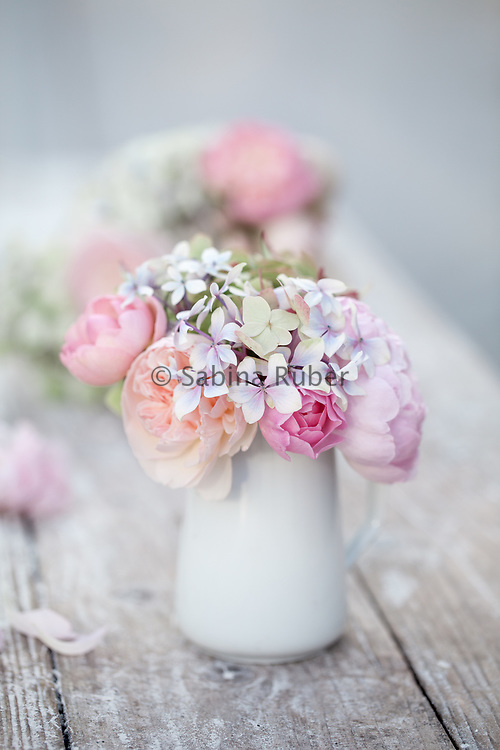 Still Life with pink, English Roses and Hydrangea
