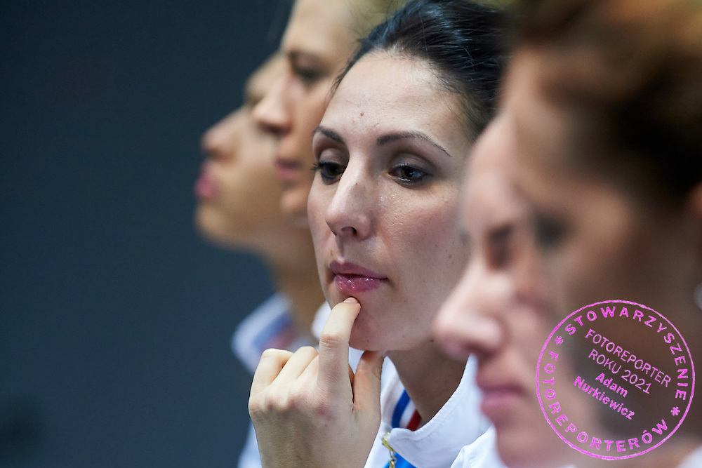Trainer coach Anastasia Myskina from Russia during official press conference three days before the Fed Cup / World Group 1st round tennis match between Poland and Russia at Krakow Arena on February 4, 2015 in Cracow, Poland<br /> Poland, Cracow, February 4, 2015<br /> <br /> Picture also available in RAW (NEF) or TIFF format on special request.<br /> <br /> For editorial use only. Any commercial or promotional use requires permission.<br /> <br /> Mandatory credit:<br /> Photo by &copy; Adam Nurkiewicz / Mediasport