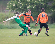 DUSC (tangerine) Docs Hibernia (green) in the Dundee Saturday Morning Football League at Drumgeith, Dundee, Photo: David Young<br /> <br />  - &copy; David Young - www.davidyoungphoto.co.uk - email: davidyoungphoto@gmail.com