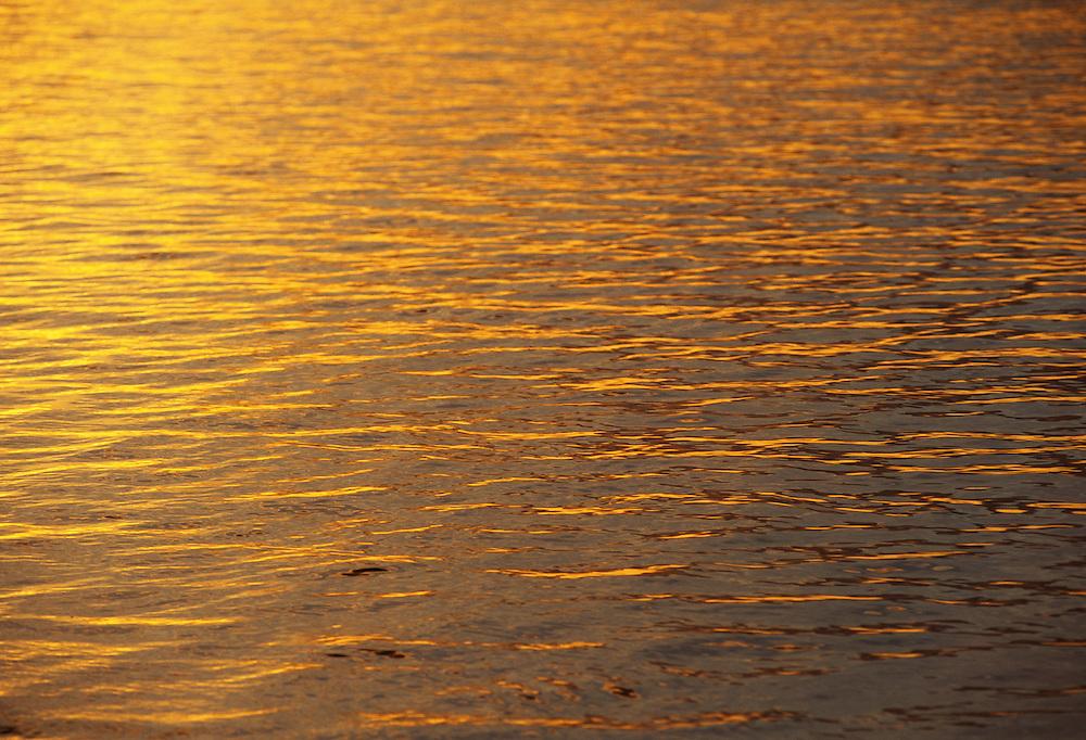 Fiji Islands, Taveuni, ocean, sunset color on water