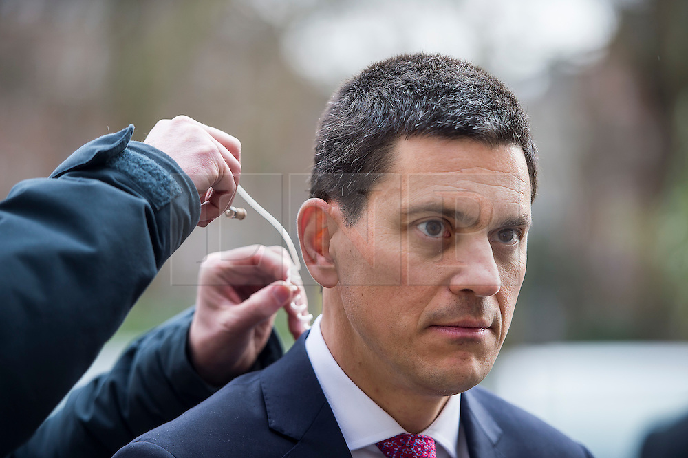© Licensed to London News Pictures. 03/02/2016. London, UK. President and CEO, International Rescue Committee DAVID MILIBAND having his microphone adjusted during a television interview after speaking at Chatham House in London about the current refugee crisis, five years on from the beginning of the Syria conflict.  Photo credit: Ben Cawthra/LNP