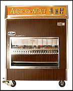 Liz Johnson sells her tiny art pieces through the Art-O-Mat, modified sigarette vending machines such as this one at the Whitney Museum.