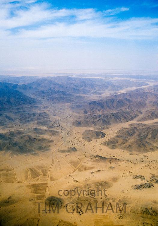 Saudi Arabian desert aerial view