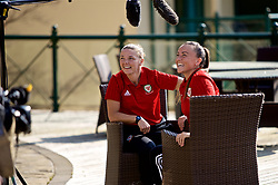 CARDIFF, WALES - Monday, April 1, 2019: Wales' Natasha Harding (R) and Hayley Ladd during a media session at the Vale Resort ahead of a friendly against the Czech Republic. (Pic by David Rawcliffe/Propaganda)