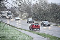 © Licensed to London News Pictures. 27/02/2020. High Wycombe, UK. Heavy snowfall is seen in High Wycombe, Buckinghamshire, England, as the south east is hit by snow for the first time in 2020. Large parts of the UK are experiencing heavy flooding with flood barriers being breached in worst hit areas. Photo credit: Ben Cawthra/LNP