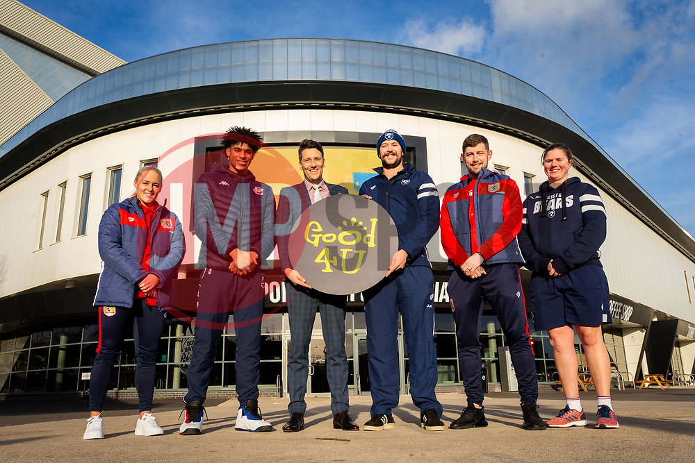 Bristol City Women's Alicia Johnson, Bristol Flyers Justin Gray, Good 4 U's Karol Butler, Bristol Bears Joe Latta, Bristol City Frankie Fielding, Bristol Bears Women Kim Oliver - Ryan Hiscott/JMP - 09/01/2019 - COMMERCIAL - Ashton Gate - Bristol, England - Bristol Sport Announce Sponsor Partnership with Good 4 U