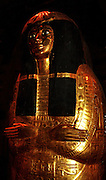 Gold gilded outer coffin of Henutmehyt. From the tomb of Henutmehyt, Thebes, Egypt. Circa 19th Dynasty, approximately 1250 BC.