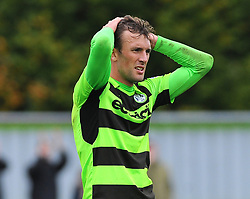 Christian Doidge of Forest Green Rovers cuts a dejected figure at the final whistle- Mandatory by-line: Nizaam Jones/JMP- 30/09/2017 - FOOTBALL - New Lawn Stadium - Nailsworth, England - Forest Green Rovers v Accrington Stanley - Sky Bet League Two