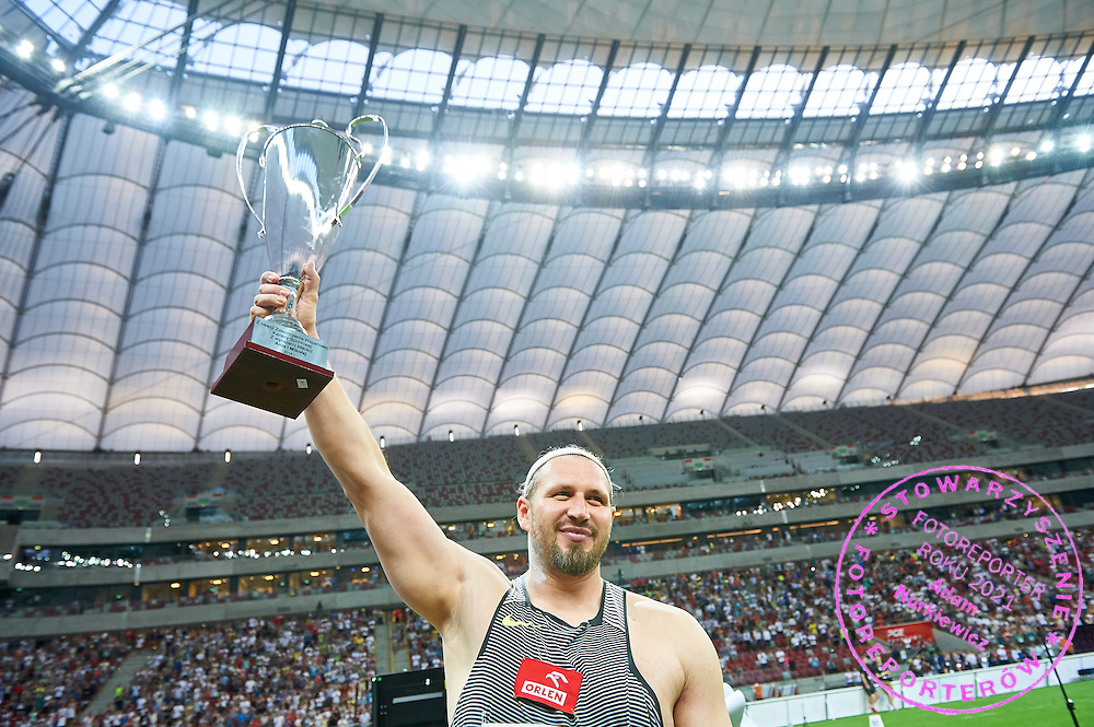 Warsaw, Poland - 2016 August 28: Tomasz Majewski from Poland waves to the audience while men's shot put competition during athletics meeting Kamila Skolimowska Memorial 2016 at PGE National Stadium  August 28, 2016 w Warsaw, Poland.<br /> <br /> Adam Nurkiewicz declares that he has no rights to the image of people at the photographs of his authorship.<br /> <br /> Picture also available in RAW (NEF) or TIFF format on special request.<br /> <br /> Any editorial, commercial or promotional use requires written permission from the author of image.<br /> <br /> Mandatory credit:<br /> Photo by &copy; Adam Nurkiewicz