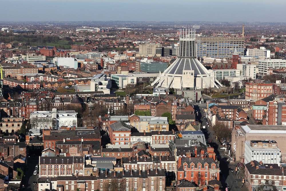 "View of Liverpool Metropolitan Cathedral (the ""Wigwam""), taken from the top of the tower of Liverpool Cathedral."