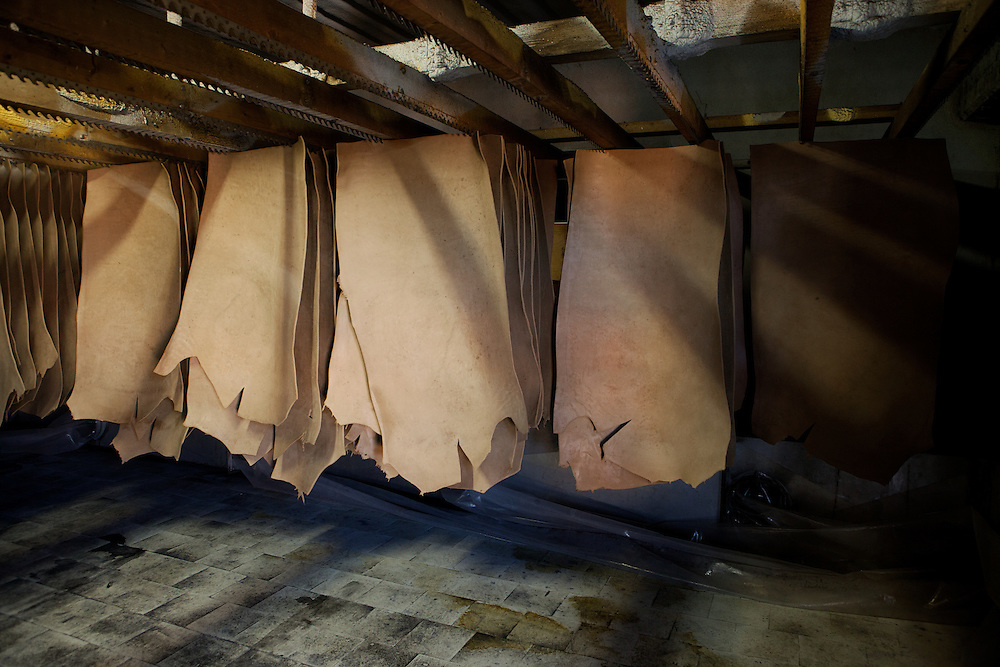 Ponte a Egola, Italy. Gi Elle Emme tannery..After the tanning, the skins are hung on shells for drying in a specific room. Temperature and humidity levels are very important.