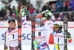 28.01.2018, Lenzerheide, SUI, FIS Weltcup Ski Alpin, Lenzerheide, Slalom, Damen, 2. Lauf, im Bild Die 3 Siegerinnen von links: Frida Hansdotter (SWE), Petra Vlhova (SVK), Wendy Holdener (SUI) // Frida Hansdotter (SWE) Petra Vlhova (SVK) Wendy Holdener (SUI) reacts after her 2nd run of ladie's Slalom of FIS ski alpine world cup in Lenzerheide, Austria on 2018/01/28. EXPA Pictures © 2018, PhotoCredit: EXPA/ Sammy Minkoff<br /> <br /> *****ATTENTION - OUT of GER*****