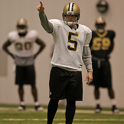 10 August 2009: New Orleans Saints PK Garrett Hartley (5) on the field during New Orleans Saints training camp at the team's indoor practice facility in Metairie, Louisiana.
