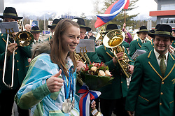 Slovenian 2-times silver medalist alpine skier Tina Maze with music Godba na pihala Lasko at arrival to Airport Joze Pucnik from Vancouver after Winter Olympic games 2010, on February 28, 2010 in Brnik, Slovenia. (Photo by Vid Ponikvar / Sportida)