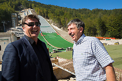 Drago Balent and Jelko Gros at media day of Slovenian Ski jumping team during construction of two new ski jumping hills HS 135 and HS 105, on September 18, 2012 in Planica, Slovenia. (Photo By Vid Ponikvar / Sportida)