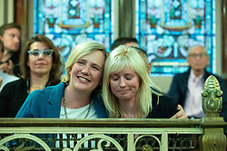 © Licensed to London News Pictures . 22/09/2019. Brighton, UK. STELLA CREASY and ROSIE DUFFIELD MPs hug after speeches at a fringe event by the Jewish Labour Movement at middle Street Brighton Synagogue, during the second day of the 2019 Labour Party Conference from the Brighton Centre . Photo credit: Joel Goodman/LNP