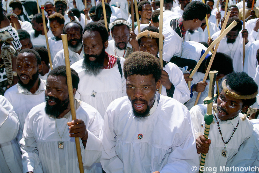 Members of the Zulu traditionalist Baptist Nazareth Church or  Shembe sectat  arally in  Durban, South Africa, 1994.