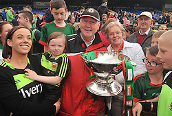 Clare, Erin, Pete and Kay Higgins celebrating Mayo's Connacht Final win over Sligo on sunday.<br /> Pic Conor McKeown