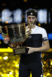 BEIJING, Oct. 7, 2018  Nikoloz Basilashvili of Georgia kisses the trophy during the awarding ceremony of the men's singles event at the China Open tennis tournament in Beijing, capital of China on Oct. 7, 2018. Basilashvili won 2-0 and claimed the title. (Credit Image: © Xinhua via ZUMA Wire)