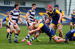 Oli Thorneywork (Warwick School) of Worcester Warriors Under 18s is held up on the try line - Mandatory by-line: Robbie Stephenson/JMP - 14/01/2018 - RUGBY - Sixways Stadium - Worcester, England - Worcester Warriors Under 18s v Yorkshire Carnegie Under 18s - Premiership Rugby U18 Academy