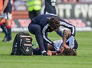 Dundee&rsquo;s Yordi Teijsse gets treatment for a cut lip - Dundee v Celtic in the Ladbrokes Scottish Premiership at Dens Park, Dundee. Photo: David Young<br /> <br />  - &copy; David Young - www.davidyoungphoto.co.uk - email: davidyoungphoto@gmail.com