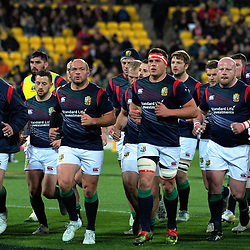 The Lions run in before the 2017 DHL Lions Series rugby match between the Hurricanes and British & Irish Lions at Westpac Stadium in Wellington, New Zealand on Tuesday, 27 June 2017. Photo: Dave Lintott / lintottphoto.co.nz