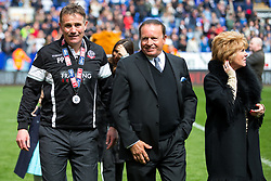 Free to use courtesy of Sky Bet - Bolton Wanderers manager Phil Parkinson speaks with Chairman Ken Anderson as Bolton Wanderers celebrate finishing the season as Sky Bet League One runners up to secure automatic Promotion to the 2017/18 Sky Bet Championship - Rogan Thomson/JMP - 30/04/2017 - FOOTBALL - Macron Stadium - Bolton, England - Bolton Wanderers v Peterborough United - EFL Sky Bet League One.