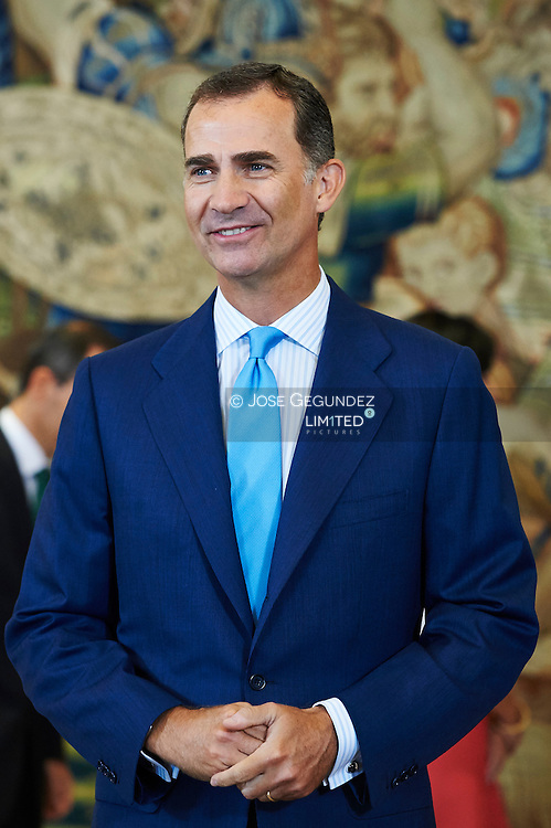 King Felipe VI of Spain attends an audience to State Lawyers 2014 and 2015 and the promotion of 1990 at Palacio de la Zarzuela on September 3, 2015