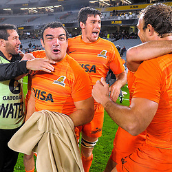 The Jaguares celebrate winning the Super Rugby match between the Blues and Jaguares at Eden Park in Auckland, New Zealand on Friday, 28 April 2018. Photo: Dave Lintott / lintottphoto.co.nz